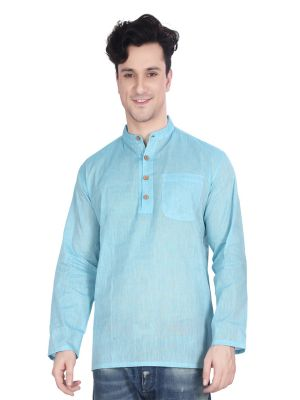 Buy Ecostyle Cotton Mangalagiri Plain Sky Blue Coloured Men's Ethnic Wear Kurta online
