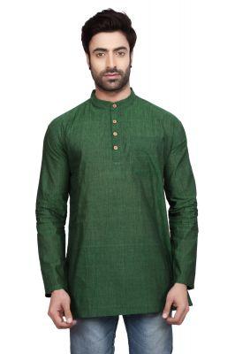 Buy Ecostyle Cotton Mangalagiri Plain Forest Green Coloured Men's Ethnic Wear Kurta online