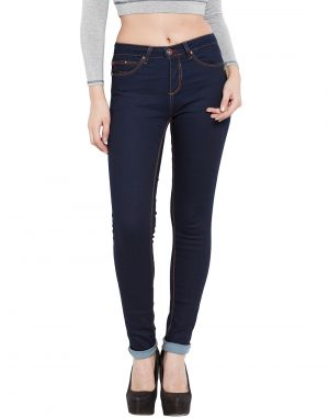 Buy Tarama Dark Blue Color Push Up Fit Cotton Stretch Denim Fabric Full Length Jeans For Women's online
