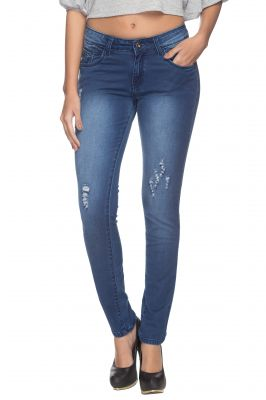 Buy Tarama Blue Color Skinny Fit Cotton Stretch Denim Fabric Ankle Length Jeans For Women's online