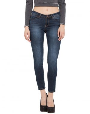 Buy Tarama Dark Blue Color Cropped Skinny Fit Cotton Stretch Denim Fabric Ankle Length Jeans For Women's online