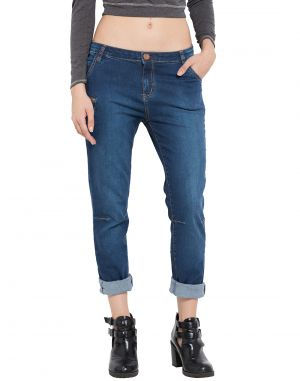 Buy Tarama Dark Blue Color Slouchy Fit Cotton Stretch Denim Fabric Full Length Jeans For Women's online