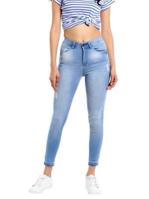 Buy TARAMA Mid Rise Skinny fit Light Blue color Jeans for women online