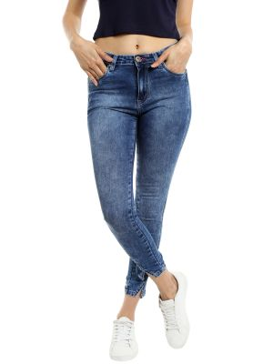 Buy TARAMA Mid Rise Skinny fit Dark Blue color Ankle Length Jeans for women's online