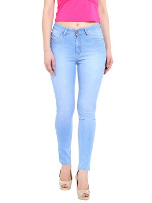 Buy TARAMA High Rise Skinny fit Light Blue color Ankle Length Jeans for women's online