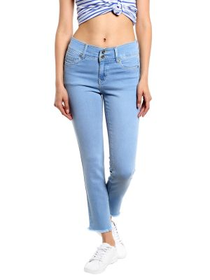 Buy TARAMA High Rise Straight Cropped fit Light Blue color Jeans for women online