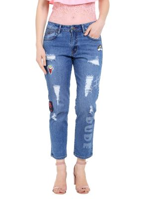 Buy TARAMA Mid Rise Boy fit Blue color Ankle Length Jeans for women's online