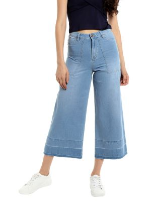 Buy TARAMA Mid Rise Wideleg fit Light Blue color Jeans for women online
