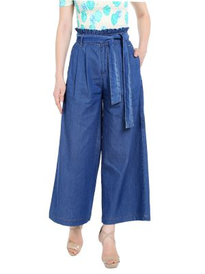 Buy TARAMA High Rise Wideleg fit Dark Blue color Ankle Length Jeans for women's online