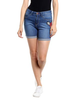Buy TARAMA High Rise Fitted fit Dark Blue color Shorts for women online