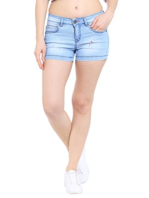 Buy TARAMA Low Rise Regular fit Light Blue color Mini Shorts for women's online
