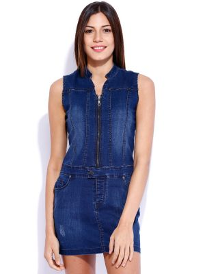Buy Tarama Blue Color Cotton Blended Stretch Denim Fabric Shift Dress For Womens online