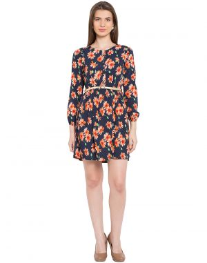 Buy Tarama Navy Color Floral Print Midi Dress For Womens (product Code - Tdd1130) online
