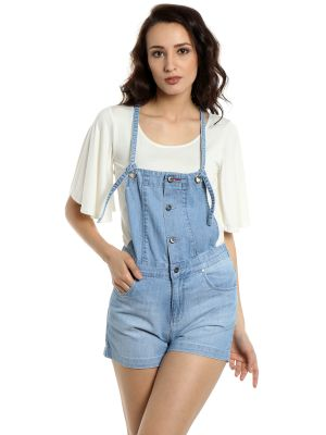 Buy TARAMA Relaxed Fit Cotton Denim  fabric Dungaree for women online