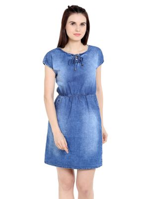 Buy TARAMA Relaxed Fit Cotton Denim fabric Sheath Dress for women ...
