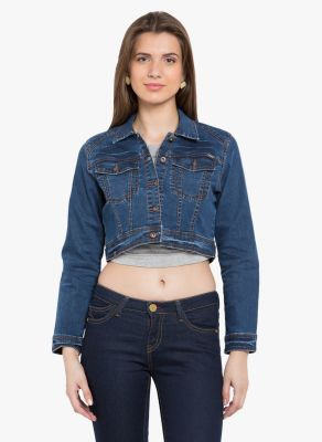 Buy Tarama Blue Color Cotton Stretch Denim Fabric Jacket For Womens online