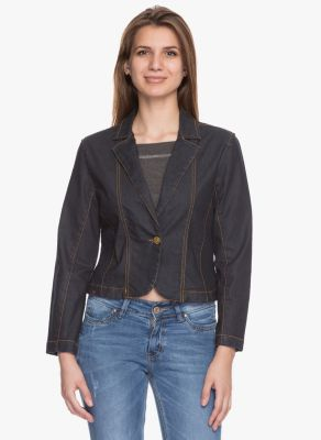 Buy Tarama Black Color Cotton Stretch Denim Fabric Jacket For Womens online