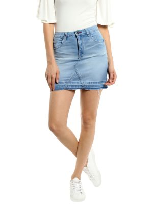 Buy TARAMA High Rise Regular fit Light Blue color Skirt for women online