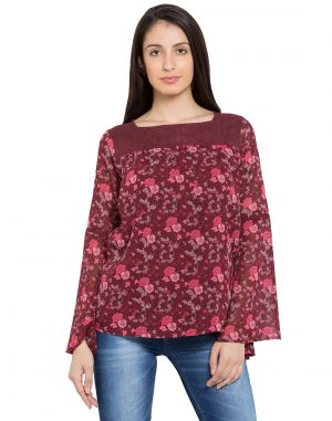 Buy Tarama Maroon Color Georgette Fabric Floral Print Top For Womens (product Code - Tdt1102b) online
