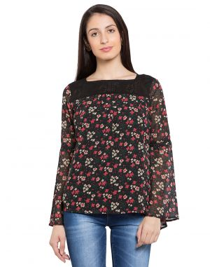 Buy Tarama Black Color Georgette Fabric Floral Print Top For Womens (product Code - Tdt1102c) online