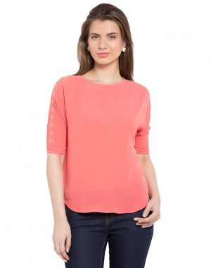 Buy Tarama Coral Color Bubble Ggt Fabric Solid Top For Womens (product Code - Tdt1104a) online