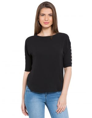 Buy Tarama Black Color Bubble Ggt Fabric Solid Top For Womens (product Code - Tdt1104b) online