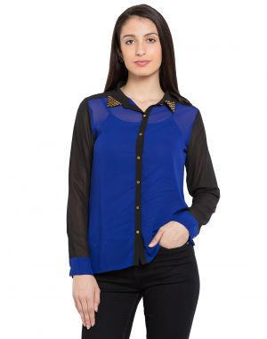 Buy Tarama Navy Color Navy-ggt Fabric Solid Top For Womens (product Code -tdt1105b) online