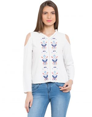 Buy Tarama White Color Crepe Fabric Long Sleeve Women's Top online
