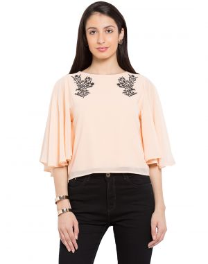 Buy Tarama Nude Color Georgette Fabric Solid Top For Womens (product Code - Tdt1110a) online