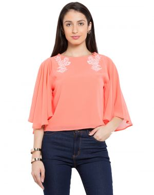 Buy Tarama Coral Color Georgette Fabric Solid Top For Womens (product Code - Tdt1110b) online