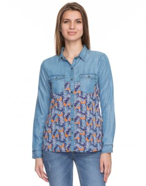 Buy Tarama Blue Color Cotton Blend Fabric Long Sleeve Women's Shirt online