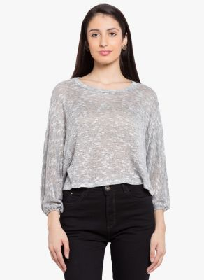 Buy Tarama Grey Color Slub Knit Fabric Relaxed Fit Top For Womens online