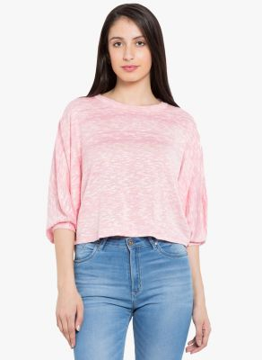 Buy Tarama Pink Color Slub Knit Fabric Relaxed Fit Top For Womens online