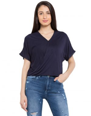 Buy Tarama Navy Blue Color Viscose Lycra Fabric Solid Top For Womens (product Code - Tdt1121c) online