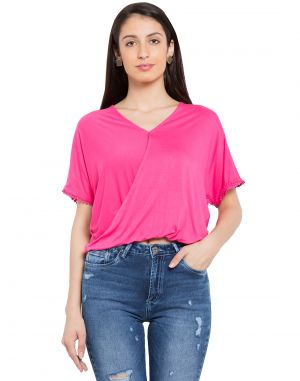 Buy Tarama Pink Color Viscose Lycra Fabric Solid Top For Womens (product Code - Tdt1121d) online