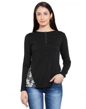 Buy Tarama Black Color Black Lycra Fabric Solid Top For Womens (product Code - Tdt1124a) online