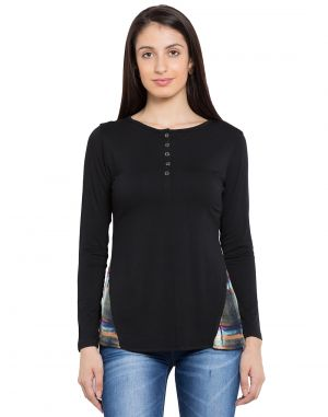 Buy Tarama Black Color Black Lycra Fabric Solid Top For Womens (product Code - Tdt1124b) online