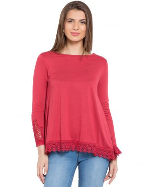 Buy Tarama Rose Color Viscose Fabric Long Sleeve Women's Top online