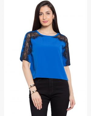 Buy Tarama Blue Color Blue Dull Crepe Fabric Solid Top For Womens (product Code - Tdt1132c) online
