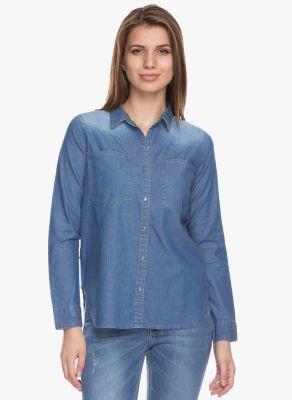Buy Tarama Blue Color Denim Fabric Regular Fit Shirt For Womens online