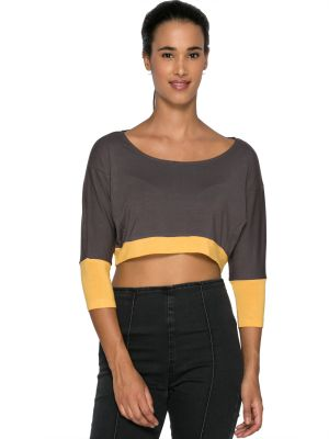Buy Tarama Grey Color Viscose Lycra Fabric Regular Fit Crop Top For Womens online