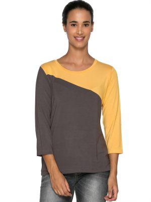 Buy Tarama Grey Color Viscose Lycra Fabric Regular Fit Top For Womens online