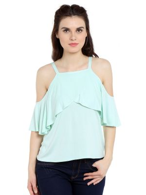Buy TARAMA Viscose fabric Mint Green color Regular fit Top for women online