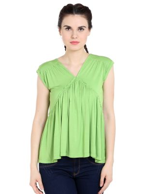 Buy TARAMA Viscose Spandex fabric Grass Green color Relaxed fit Top for women online