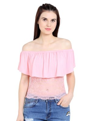 Buy TARAMA Viscose Spandex fabric Light Pink color Regular fit Top for women online
