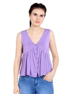 Buy TARAMA Viscose Spandex fabric Purple  color Relaxed fit Top for women online