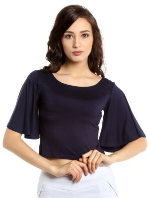 Buy Tarama Viscose Spandex Fabric Navy Blue Color Bodycon Fit Top For Women-a2 Tdt1305b online