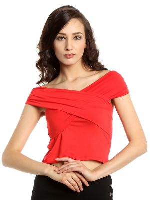 Buy Tarama Viscose Spandex Fabric Tomato Red Color Bodycon Fit Top For Women-a2 Tdt1306a online