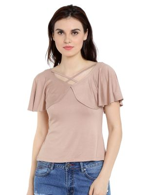 Buy TARAMA Viscose Spandex fabric Nude color Regular fit Top for women online
