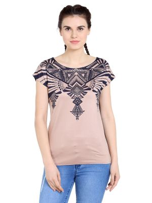 Buy TARAMA Viscose Spandex fabric Nude color Relaxed fit Top for women online